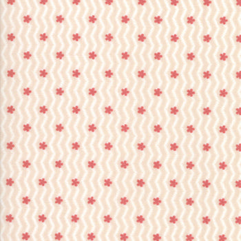 Tiny Pink and White Zig Zag with Posies - Porcelain
