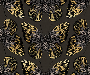 Butterfly on Charcoal Linen Blend - Tiger Fly