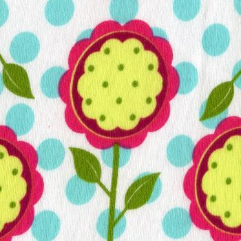 Colorful Flowers on Aqua Dots - Cotton Knits