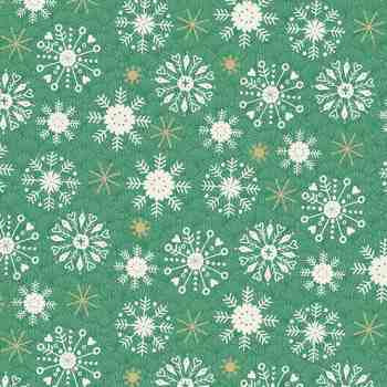 Snowflakes on Green - Merry Christmas