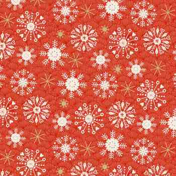 Snowflakes on Red - Merry Christmas