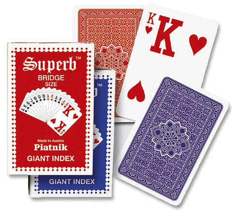 Piatnik Superb Bridge Giant Index Blue/Back Playing Cards