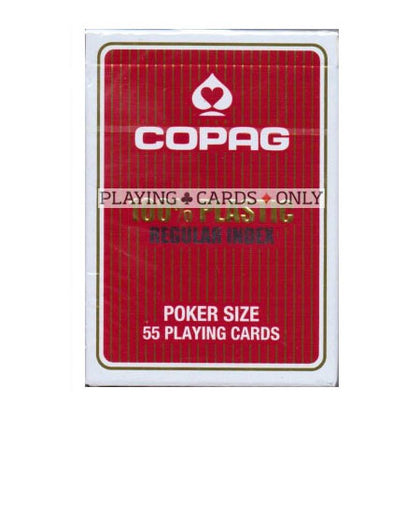 Copag poker size plastic STANDARD index playing cards - Red backed