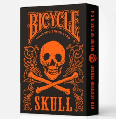 Bicycle Skull Playing Cards-Orange