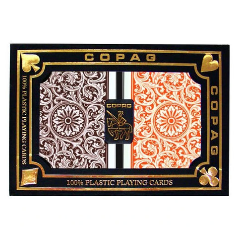 Copag 1546 Poker Standard Index - Orange & Brown Boxed Twin Pack