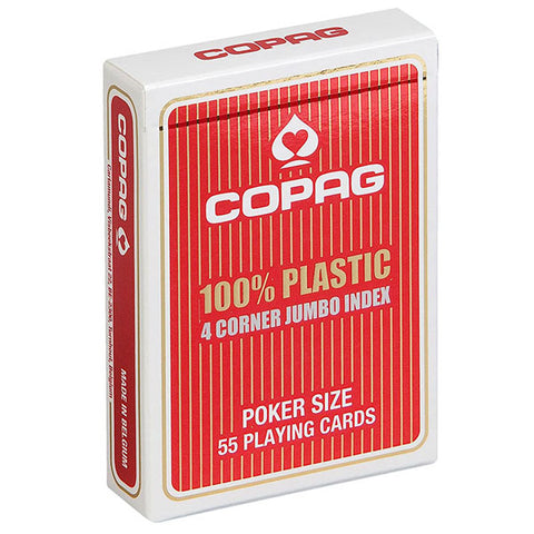 Copag Jumbo Index 4 Pip 100% Plastic Playing Cards-Red Backed