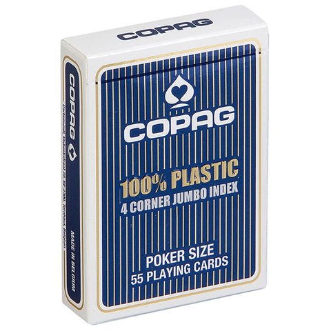 Copag Jumbo Index 4 Pip 100% Plastic Playing Cards-Blue Backed