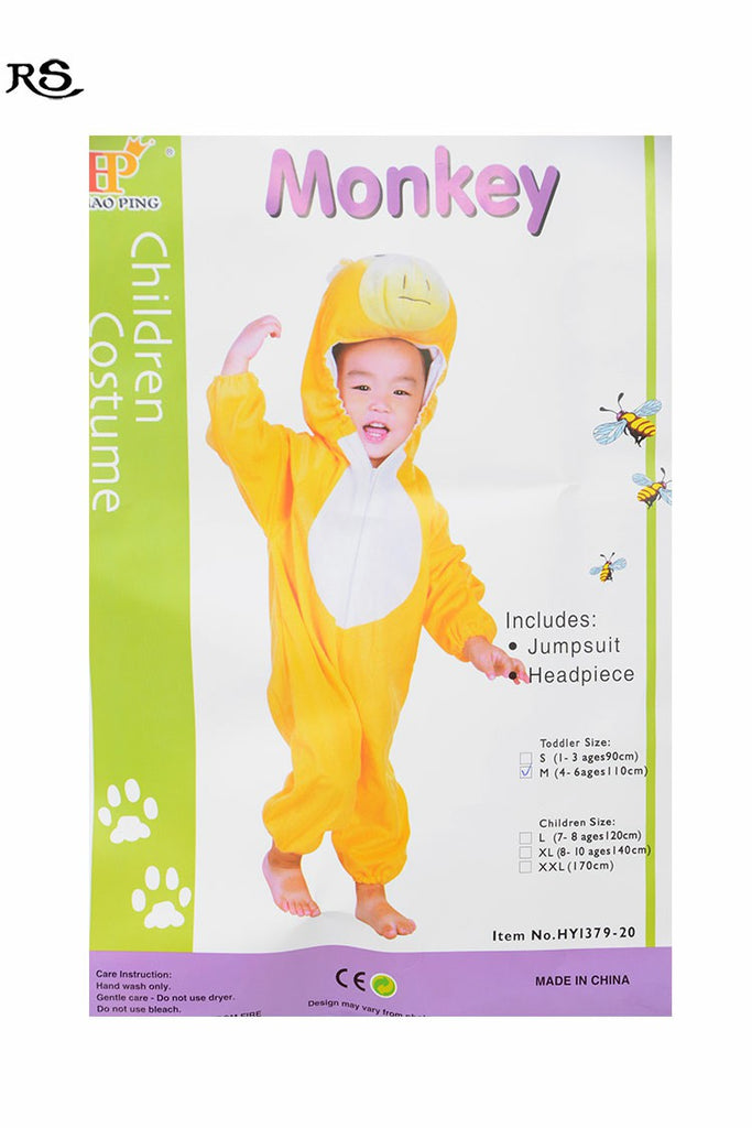 Kids Monkey Costume With Jump Suit And Headset