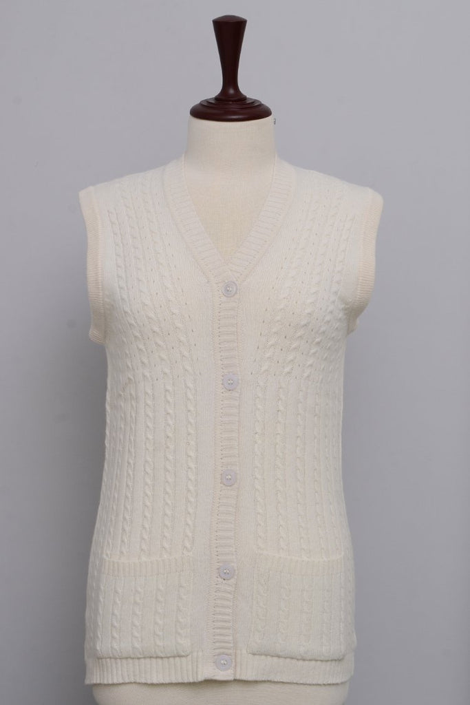 Women's V-Neck Merino Wool Blend Sleeveless Cardigan Sweater Off White