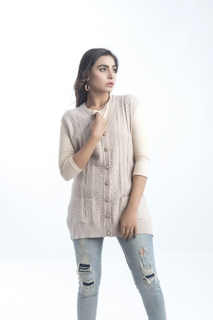 Women's V-Neck Merino Wool Blend Sleeveless Cardigan Sweater Beige