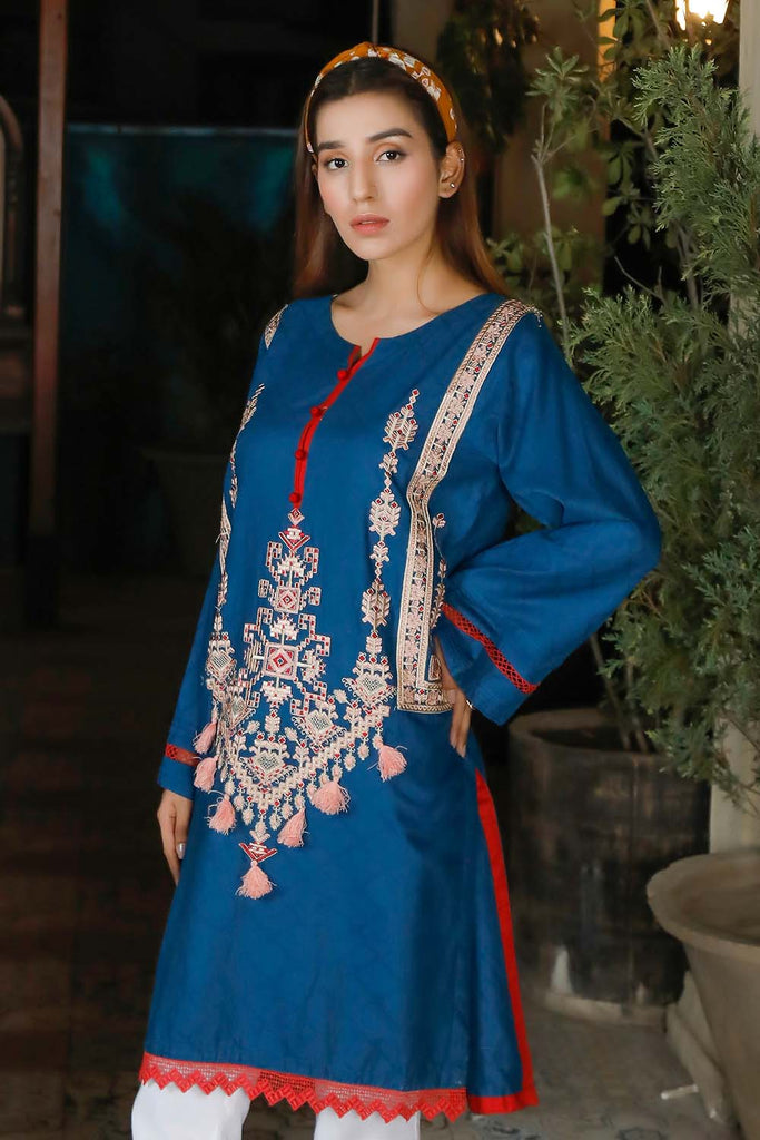 Oture 1PC Stitched Embroidered Self Jacquard Shirt With Lace Blue