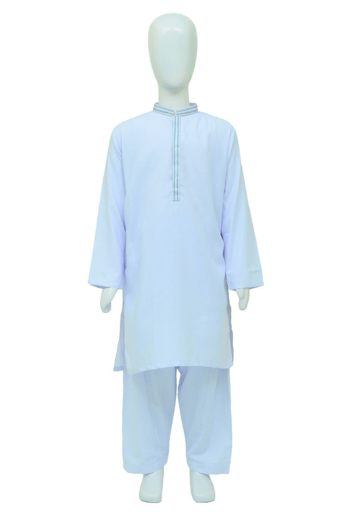 Hired Hand Kids Kameez Shalwar Poly Viscose White
