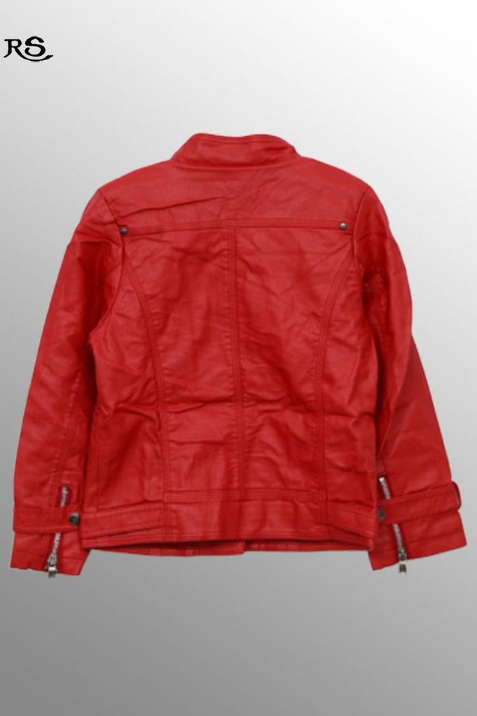 Boys Zipper Leather Jacket Red