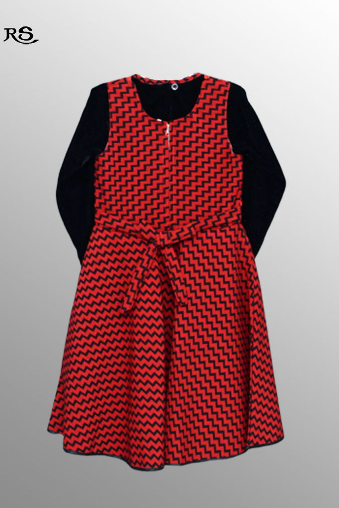 Girls Full Sleeves Woolen Frock Red