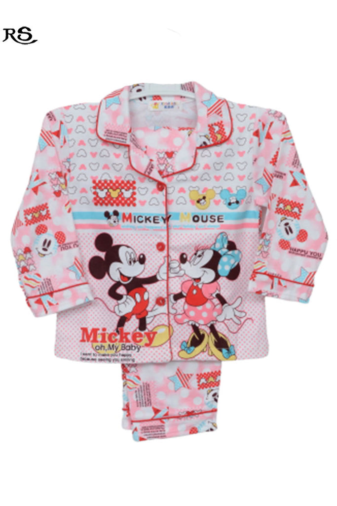 Girls Micky Mouse Night Suit Red