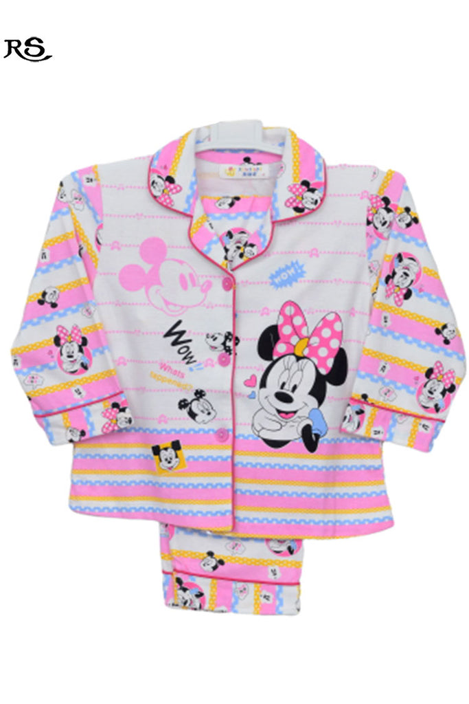 Girls Micky Mouse Night Suit Pink