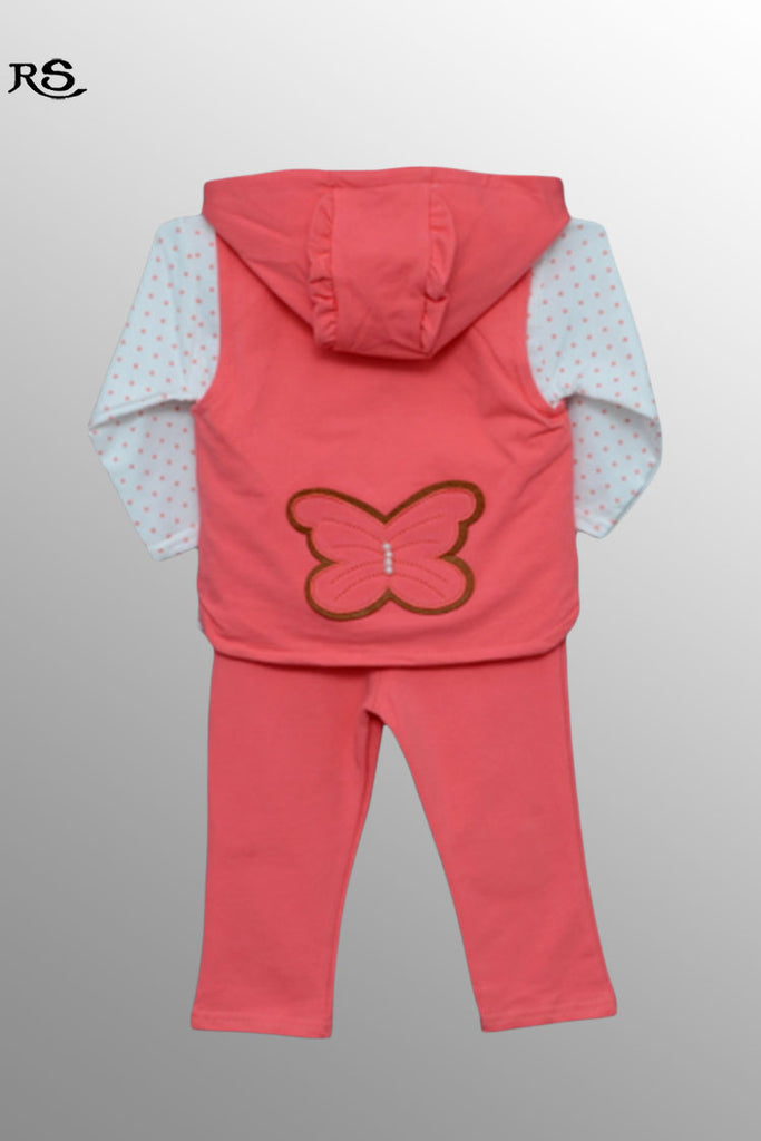 Girls Full Sleeves Pajama Suit Rose