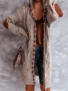 Women's Caramel Brown Stitching Cardigan