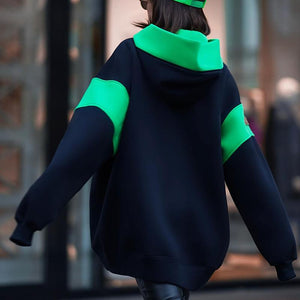 PATCHWORK LOOSE HOODED SWEATSHIRT