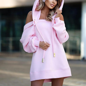 OFF-THE-SHOULDER LOOSE HOODED SWEATSHIRT