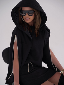Fashion casual zipper hooded sweatshirt