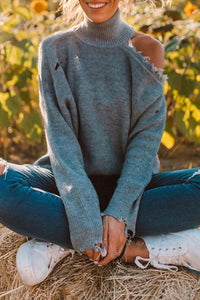 Turtleneck Dew Shoulder Grey Sweater