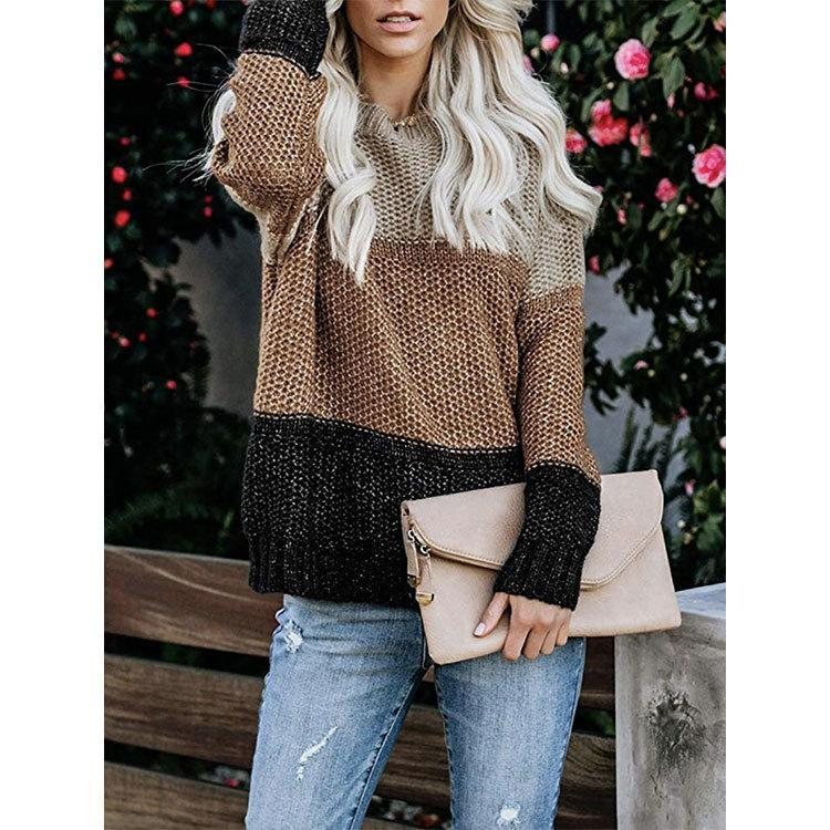 Contrast stitching women's striped sweater knit sweater