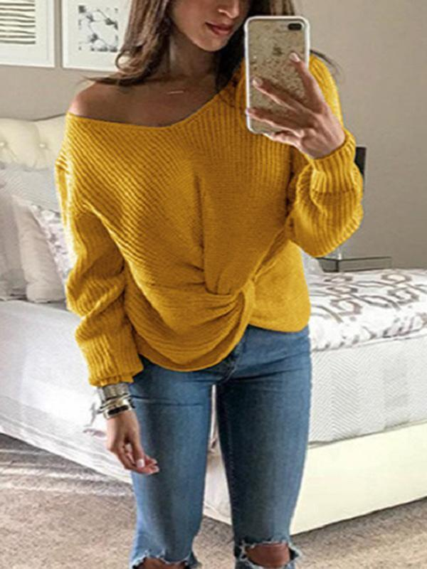 Twisted V-Neck Sweater