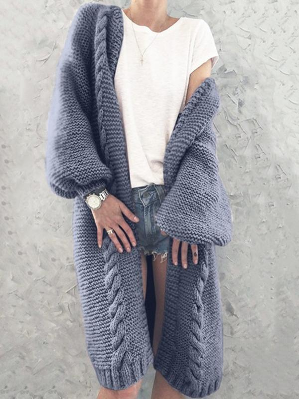 Solid Color Lantern Sleeve Long Cardigan