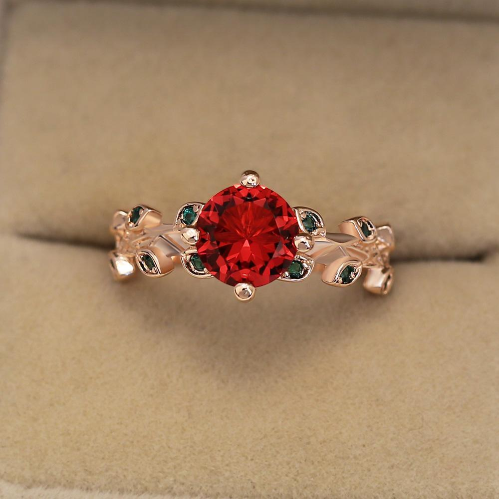 Leaves All Around Ruby Ring - Sydney 2ct | 14K Rose Gold