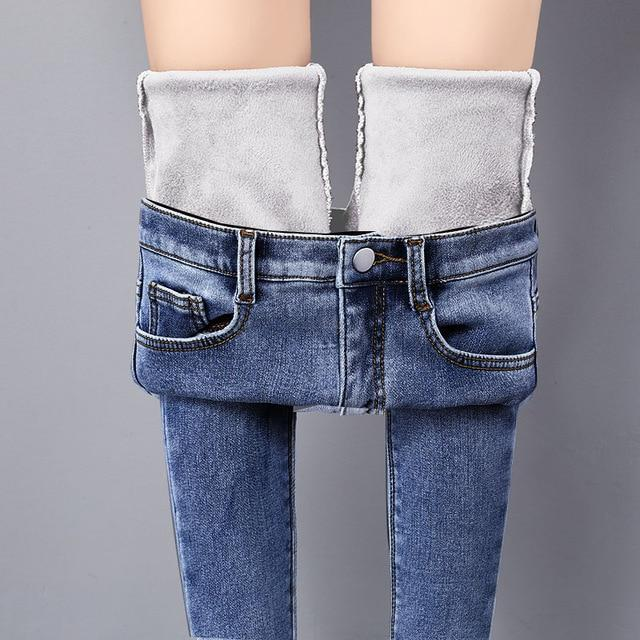 Warm Jeans Winter Blue Light Solid Skinny Fleeces Thick Pencil Pant