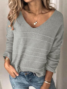 Gold Striped V-Neck Sweater
