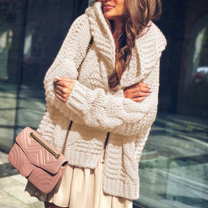 Women's Knit Hooded Cardigan