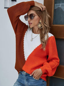 Color Block Round Neck Casual Sweater