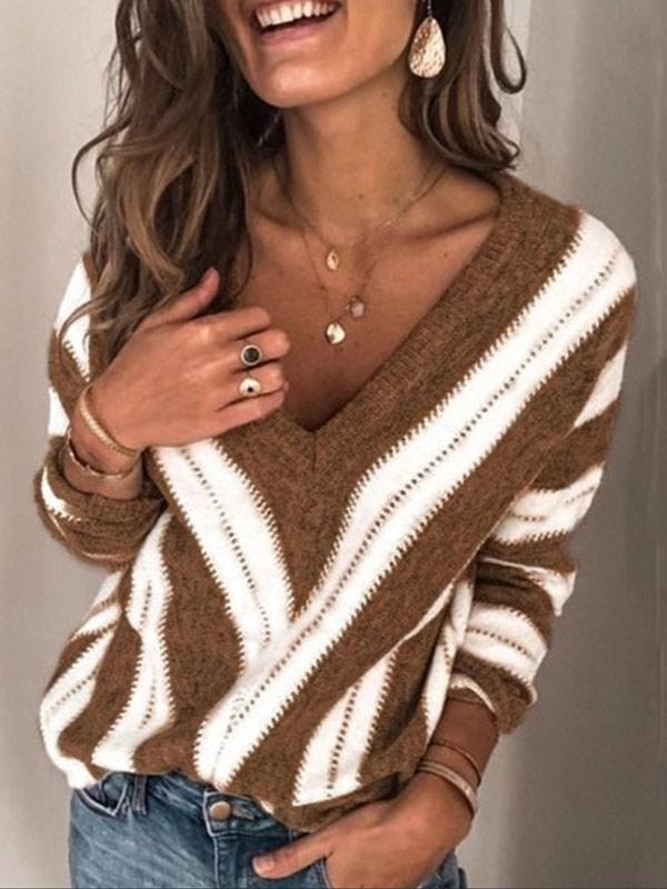 Women's Casual V-neck Geometric Long Sleeve Sweater