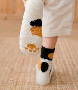 Winter Cat Claws Cute Thick Warm Sleep Floor Socks - Handmade