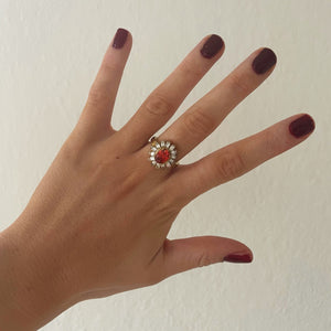 Exclusive Ring - Vintage Flower Red