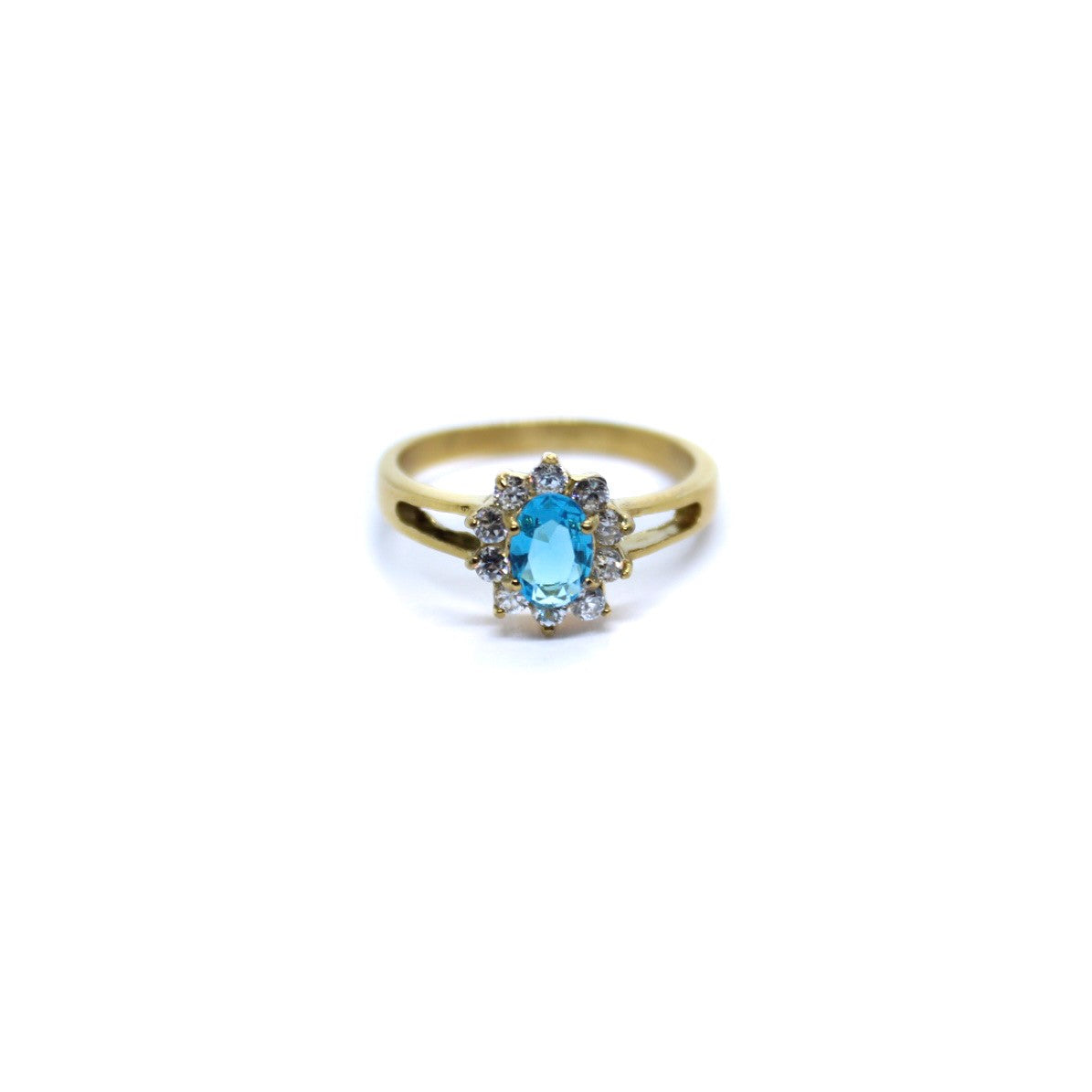 Exclusive Ring - Small Vintage Flower Aqua