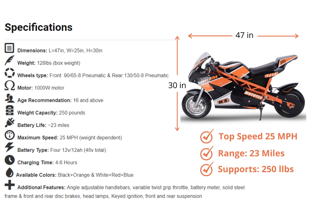 mototech 1000w 48v superbike size and dimensions