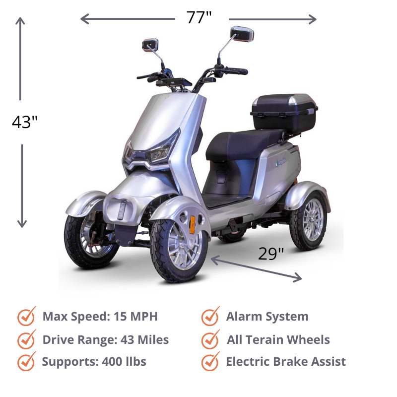 ew-75 touring scooter size and dimensions