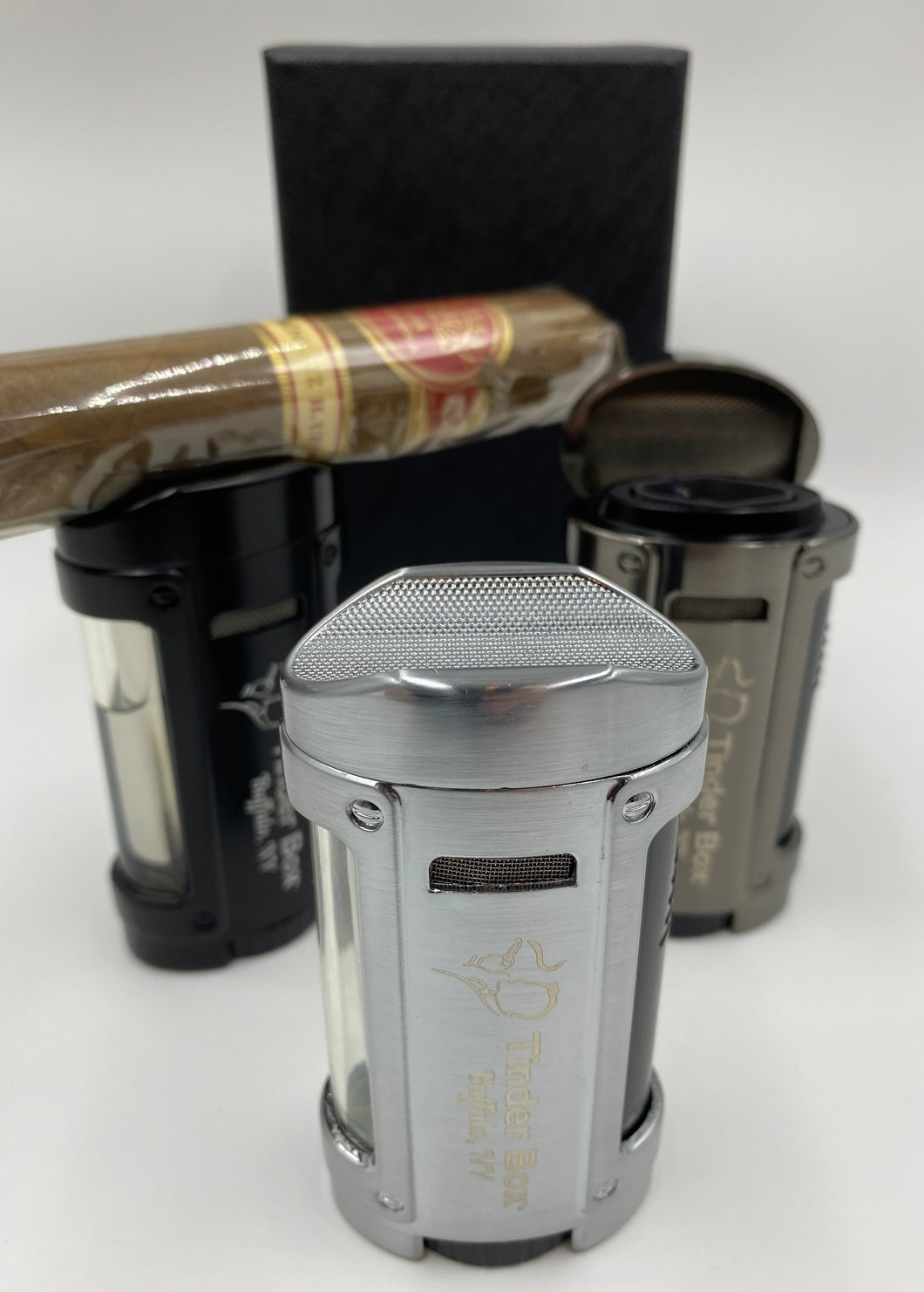 Tinder Box Buffalo 4-Flame Torch Lighter With Cigar Rest