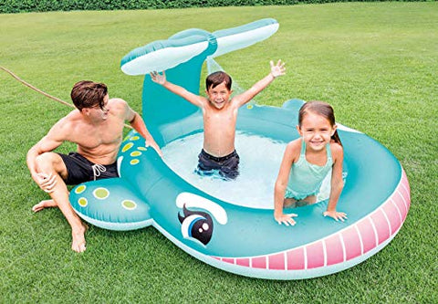 Image of Intex 57435 Piscina hinchable ballena, 233 litros, Multicolor, 208 x 157 x 99 cm