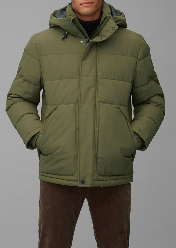 Groene No Down Puffer Jacket met Slow Down – No Down-wattering