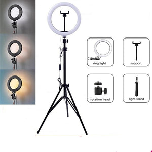 "DIAMOND 10"" Light Ring With Tripod - diamond techno Camera Stand selfie stick Accessories PHONE HOLDER SMART Dimmable TRACKER"