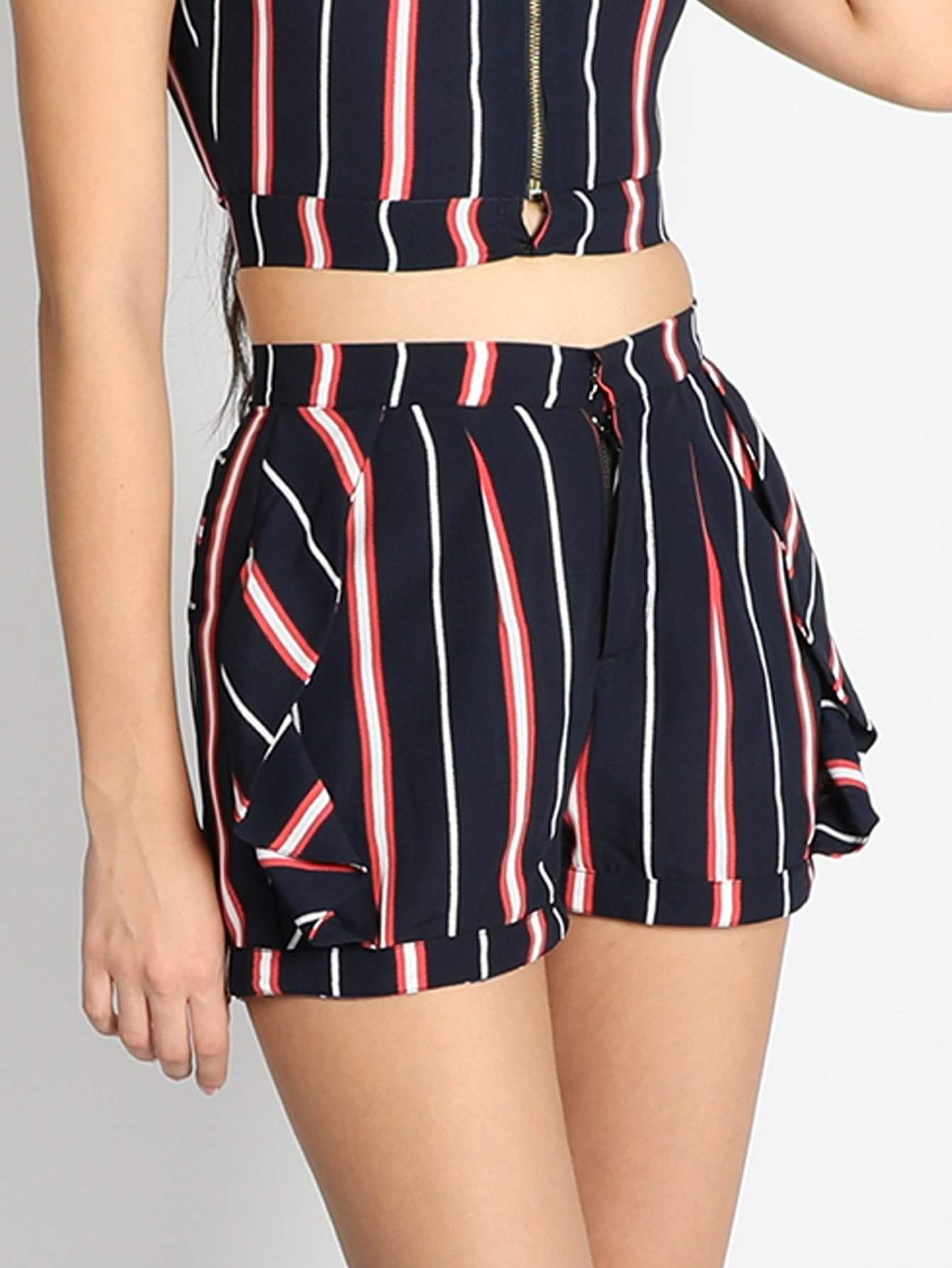 Side Frilled Stripe Shorts - zooomberg