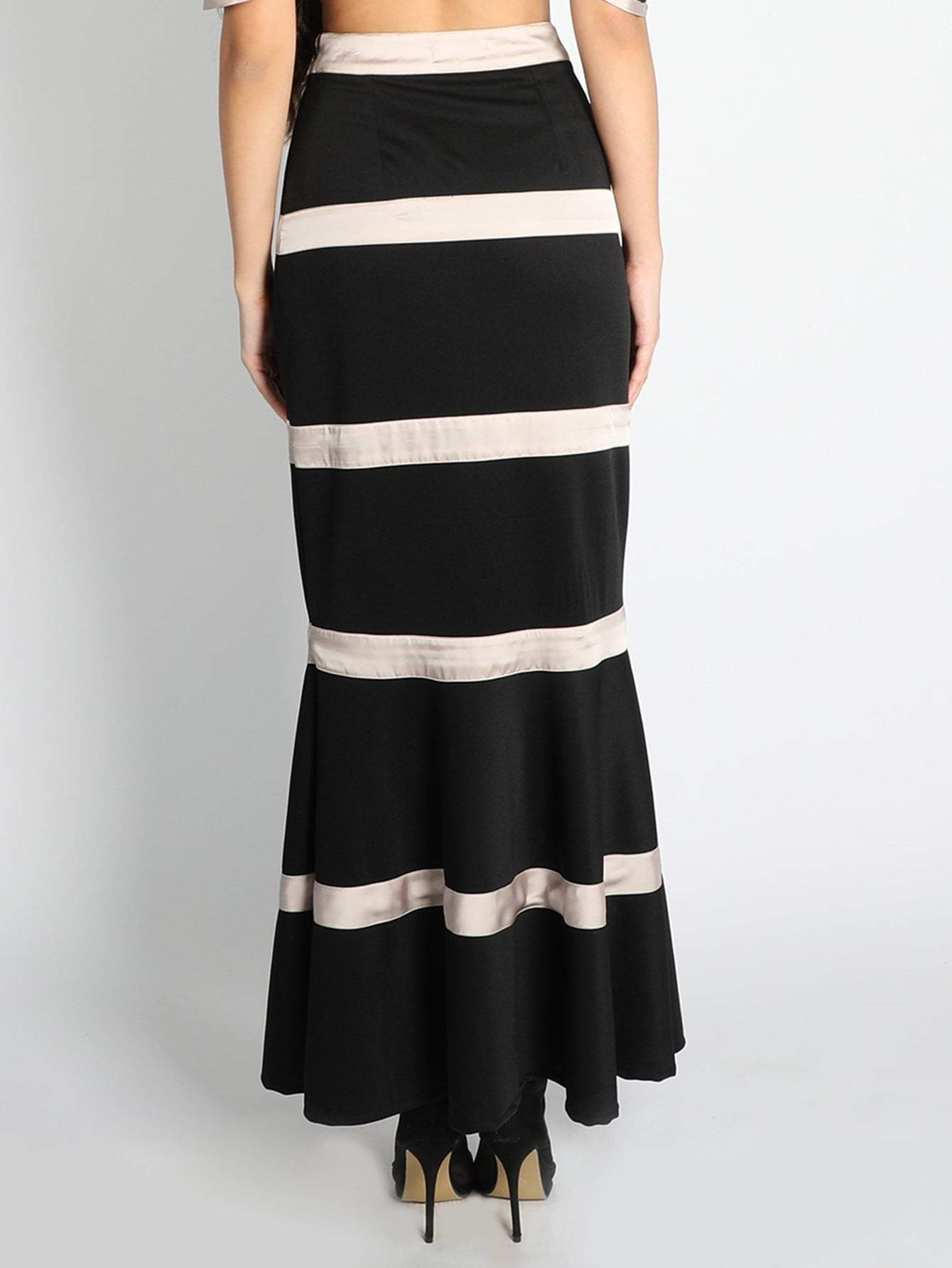 Black Scuba  Striped Fish Cut Skirt - zooomberg