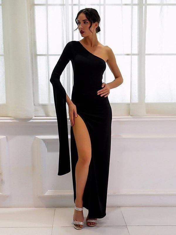 Black Elongated Sleeve One Shoulder Dress - Dresses - Zooomberg - Zoomberg