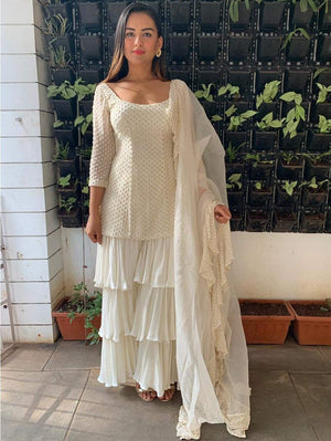White Princessline Kurta With Three Layered Pants And Ruffle Dupatta - Two Piece Outfits - Zooomberg - Zoomberg