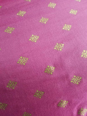 Geometric Pattern Gold Printed Linen Satin Fabric - Zooomberg