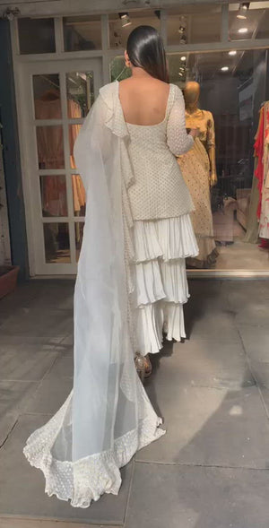 White Princessline Kurta With Three Layered Pants And Ruffle Dupatta
